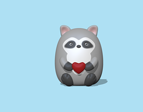 Raccoon with heart to decorate and play 3D print model