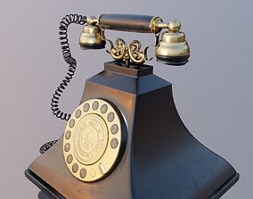retro vintage landline telephone 3D model