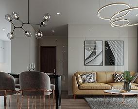 Apartment interior modern full 3D kitchenroom