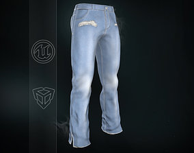 Light Blue Ripped Jeans 3D asset