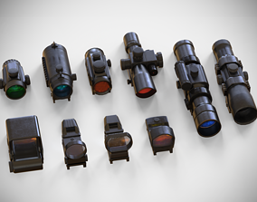 3D model Sight Attachments Pack - Optical - Scope - 2