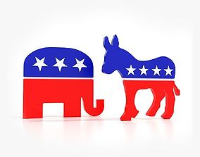 3D model Democratic Donkey and Republican Elephant 1