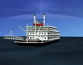 Stern Wheeler River Boat 3D