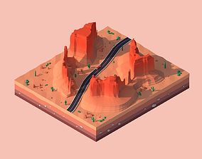 Cartoon Low Poly Monument Valley Landmark 3D model
