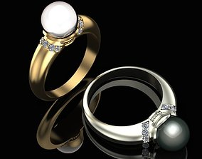 Ring with a pearl and diamonds 3D printable model