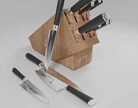 3D a set of kitchen knives different designs