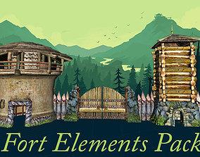 3D asset FORT Towers gates walls