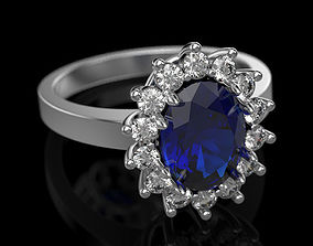 2 Sapphire ring 3D print model