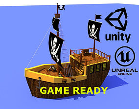 3D model Low poly pirate ship