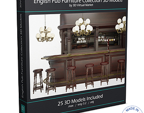 English Pub Furniture and Lighting 3D