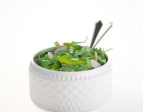 3D model Salad In Porcelain Bowl