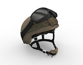3D asset Army helmet and goggles