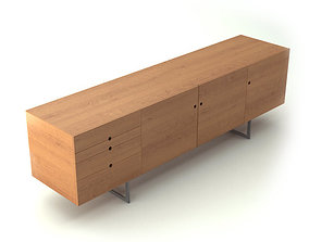 Contemporary Wooden Sideboard 3D model