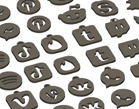 3D print model Social media and popular app logos keychain