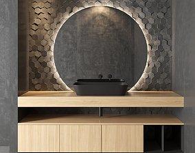 Cerasa NEROLAB Wood veneer vanity unit 3D asset