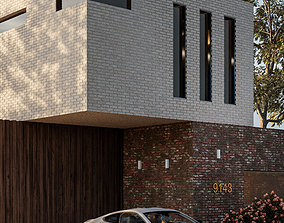 Exterior 3D Model with facade view game-ready