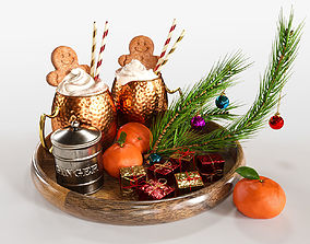 Drinks on a tray with gingerbread 3D model