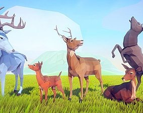 Poly Art Deer 3D animated