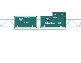 Highway Sign 01 3D asset