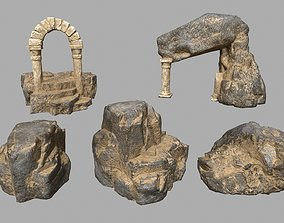 3D asset game-ready nature Rock Set