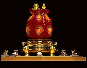 Chinese money bag with yuanba and toad 3D model