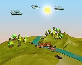 3D model low-poly Cartoon Landscape