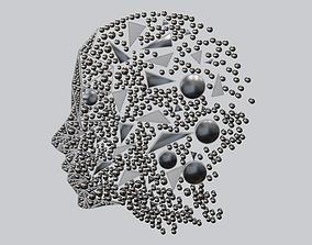 3D Human head decorative wall items abstract Art blender 1