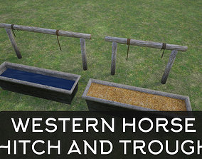 Lowpoly Western Horse Hitch And Trough 3D model