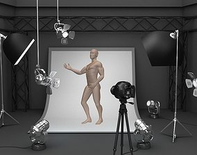 3D model Photo studio equipment and white background