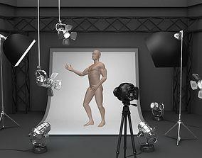 3D model Photo studio equipment and white background