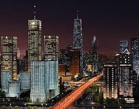 3D model Big City Night Scene