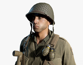 3D asset rigged realtime WW2 US Soldier