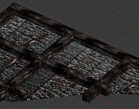 3D asset Burnt Timber Beam Ceiling Wall
