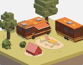 isometric brown tourist van on halt in meadow 3D model