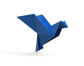 Origami Bird 3D model VR / AR ready