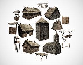 3D model Medieval building pack
