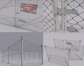3D asset Chain link metal fence