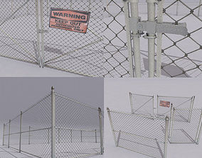 3D asset Chain link metal fence
