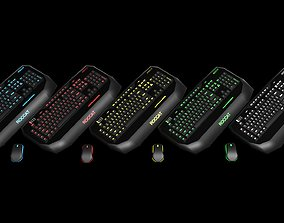 3D Roccat illuminated keyboard and mouse with 3 monitor