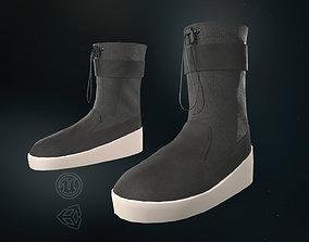 3D asset low-poly Black Ski Lounge Boots