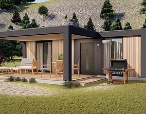 3D model modern mobile home tiny house vacation house on