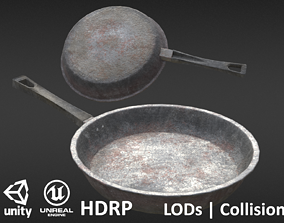 Game-ready Frying Pan Dirty - Unity - HDRP - UE4 3D model