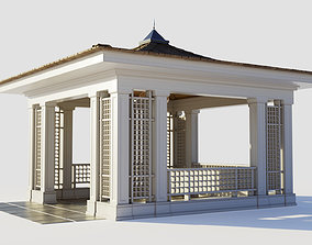 Chinese style wooden gazebo 3D model
