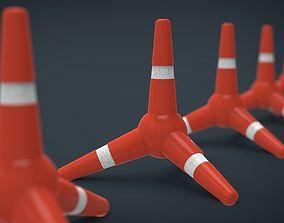 Police Cone x4 Tetrapodos 3D