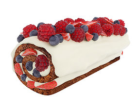 Berry chocolate cake roll 3D model