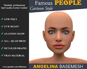 Low poly Character Cartoon Basemesh - Angelina 3D asset