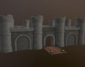 3D model low-poly Castle Walls