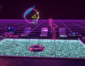 Retro Wave Scene - Vaporwave 3D asset
