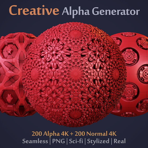 Ornaments Generator for Brush or Sculpt on Scifi/Stylized/Real Surfaces (Zbrush, Blender, Painter)