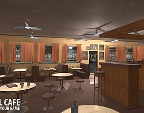Old school cafe 3D model animated